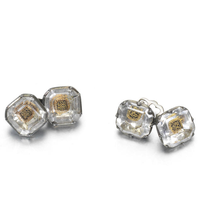 A pair of Stuart crystal cufflinks