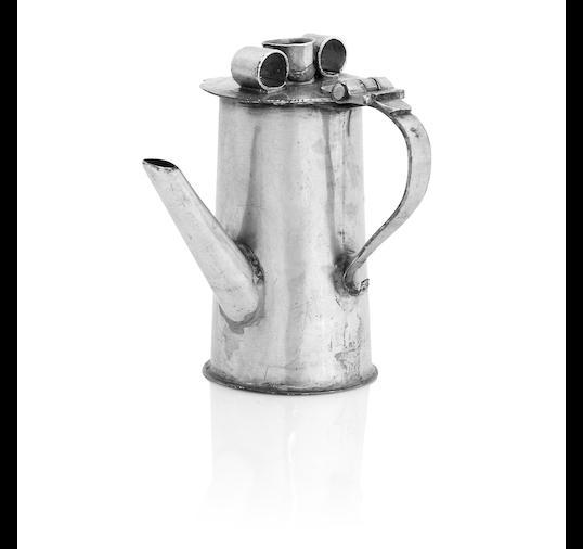 A Queen Anne miniature silver chocolate pot
