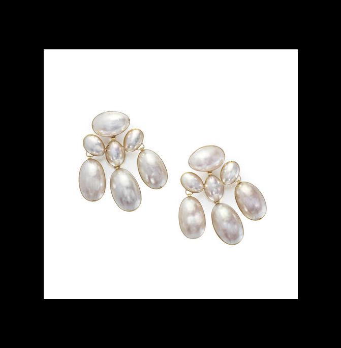 A pair of coque de pearl girondole earrings