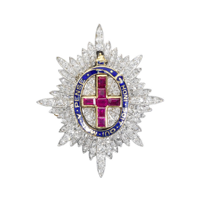 A gem set regimental brooch, for the Coldstream Guards