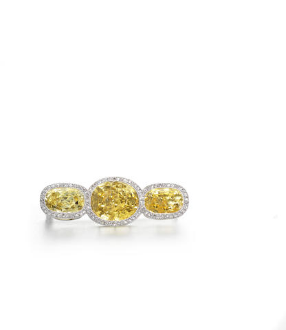 A yellow sapphire and diamond brooch, by Cartier
