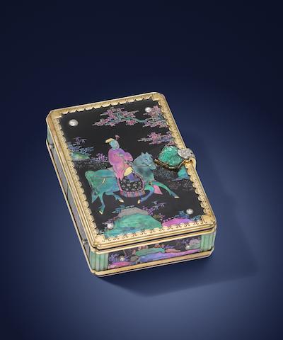 An Art Deco 'laque burgauté' and gem-set compact