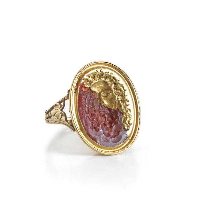 A Neoclassical carnelian and gold ring