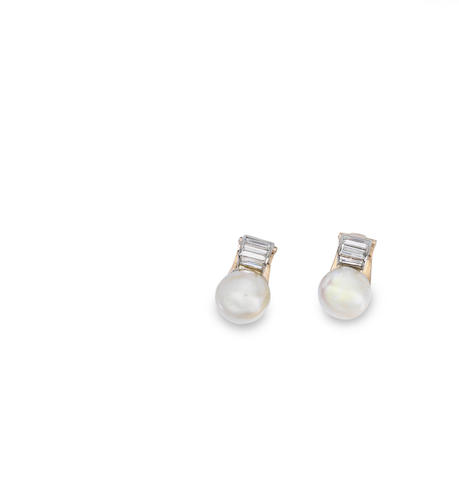 A pair of natural pearl and diamond earstuds