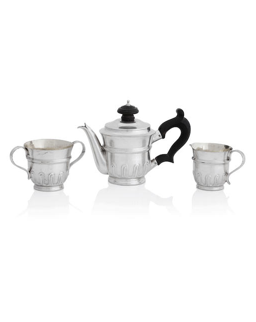 A rare William IV miniature three piece silver tea service