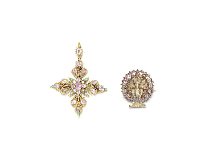 An early 19th century cannetille cross pendant