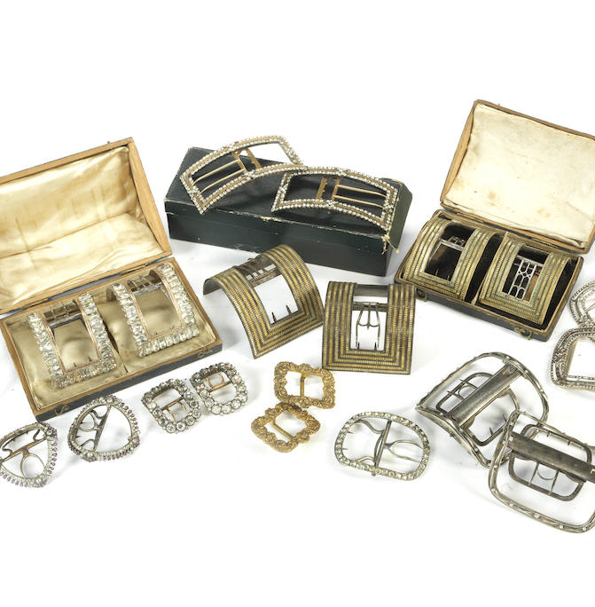 A collection of antique shoe buckles