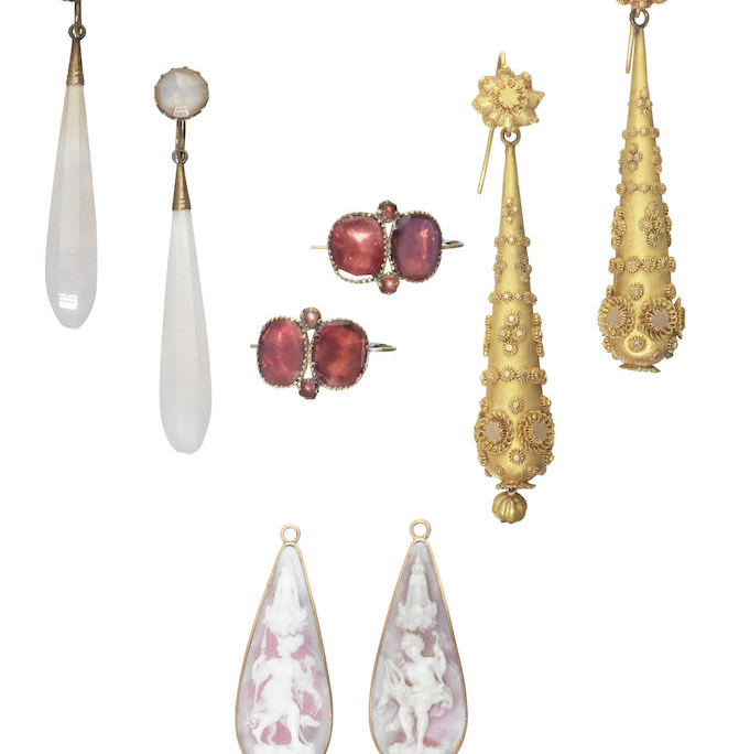 A collection of four pairs of antique earpendants