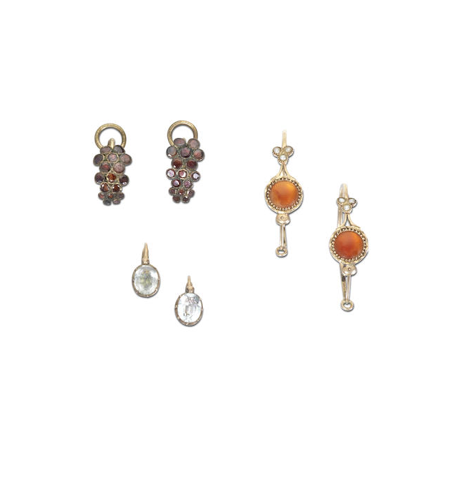 Three pairs of antique earrings