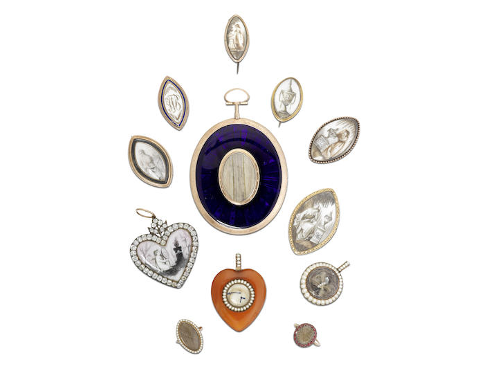 A collection of early 19th century sentimental mourning jewels