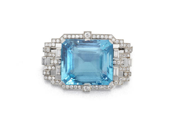 An art deco aquamarine and diamond pendant/brooch