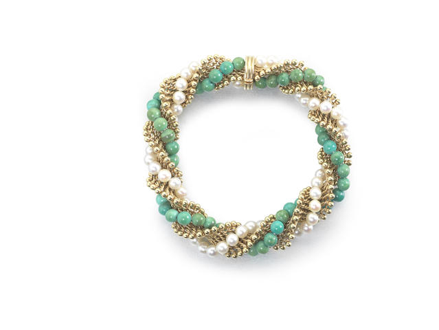 """A cultured pearl and turquoise """"Twist"""" bracelet"""