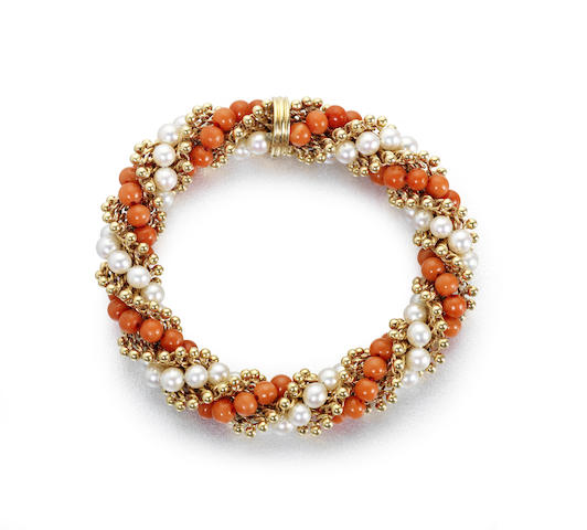 "A cultured pearl and corallium rubrum ""Twist"" bracelet"