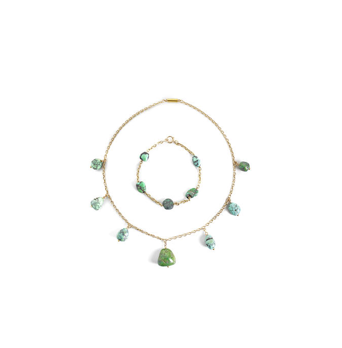 A late 19th century turquoise set necklace and bracelet