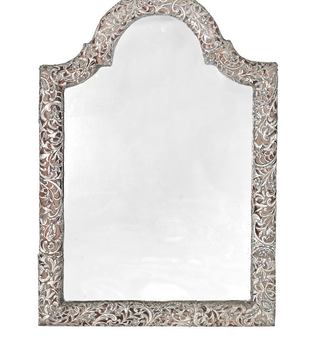 A 19th century Dutch silver-mounted dressing table mirror
