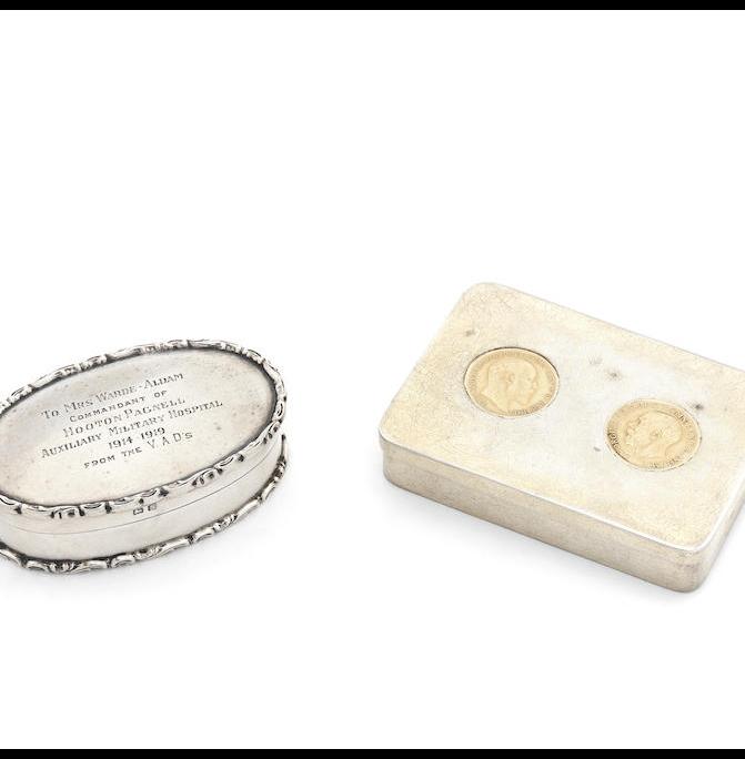 A sovereign-set silver gilt presentation box