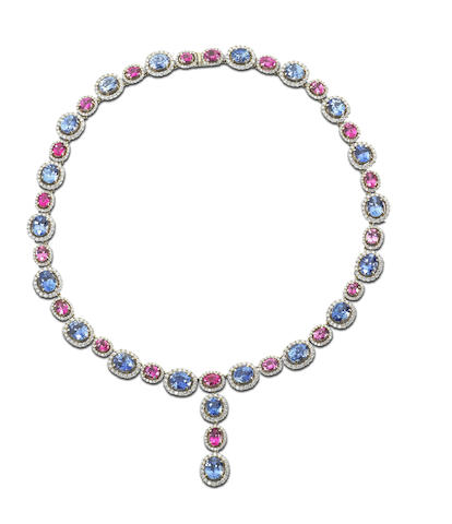A spinel, sapphire and diamond necklace