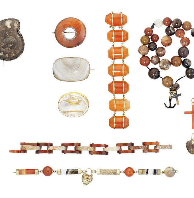 A collection of agate jewellery