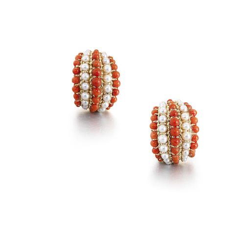 """A cultured pearl and corallium rubrum """"Twist"""" bracelet and earclip suite"""
