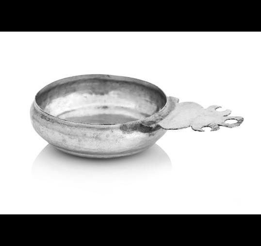 A Queen Anne miniature silver porringer