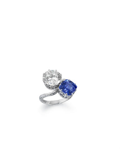 A sapphire and diamond two-stone ring