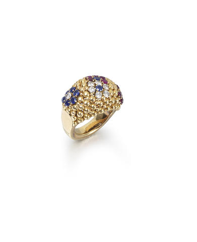 """A mid-20th century sapphire, ruby and diamond """"Pelouse Hawaii"""" ring and earclip suite"""
