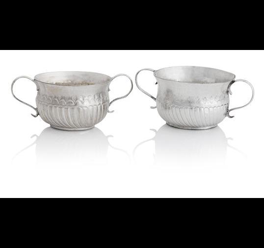 Two George I miniature silver twin handled porringers