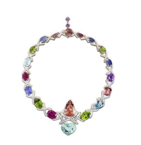 A multi gem-set and diamond collar necklace