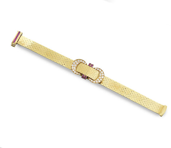 "A ruby and diamond ""Shutter"" bracelet watch"