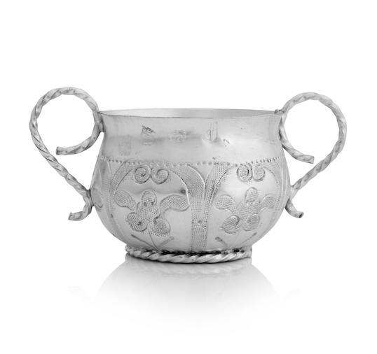 A Commonwealth miniature silver twin handled porringer
