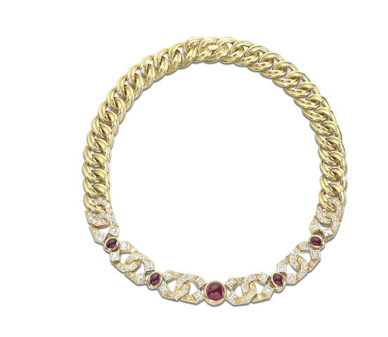 A ruby and diamond collar necklace