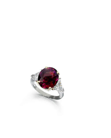 A ruby single-stone ring