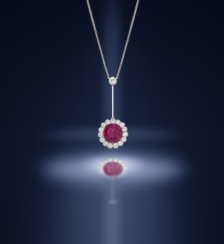 A Belle Époque ruby and diamond pendant/necklace