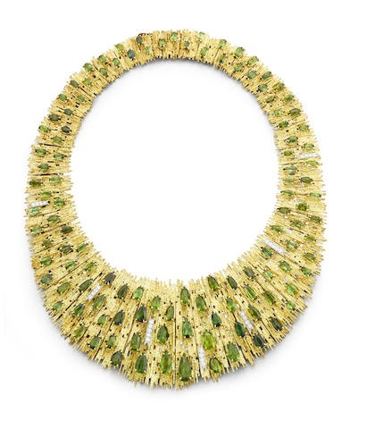 A gold, tourmaline and diamond necklace and earclip suite