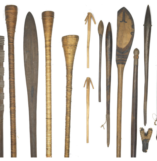 A collection of tribal weapons and artefacts