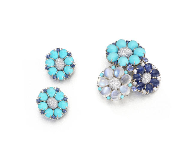 A turquoise, moonstone, sapphire and diamond brooch and earclip suite