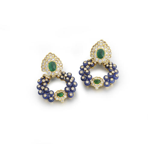 A pair of emerald, sapphire and diamond pendent earrings