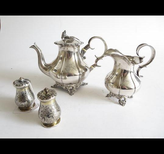 A pair of late 19th century Russian niello-work cruets