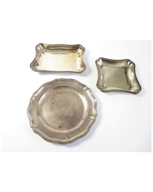 Three French silver dishes