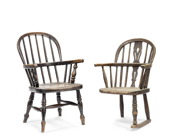 Two Victorian ash and elm child's Windsor chairs