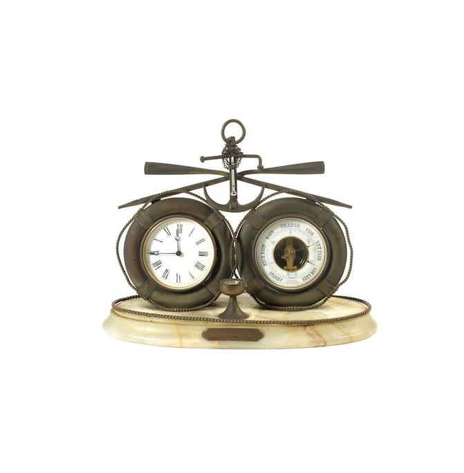 A late Victorian clock barometer of nautical theme