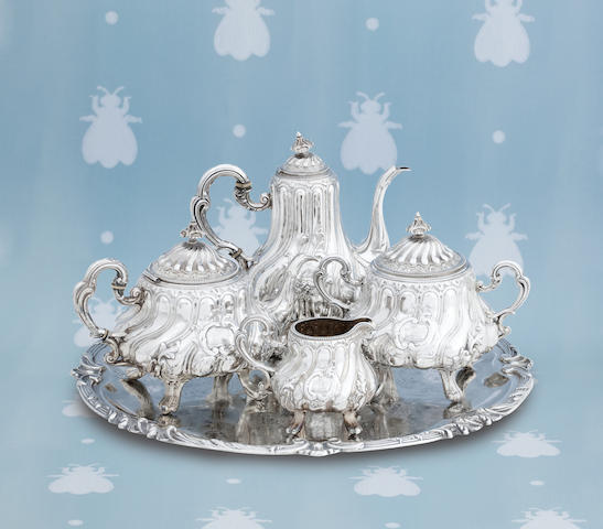 A cased five piece French silver tea service and salver