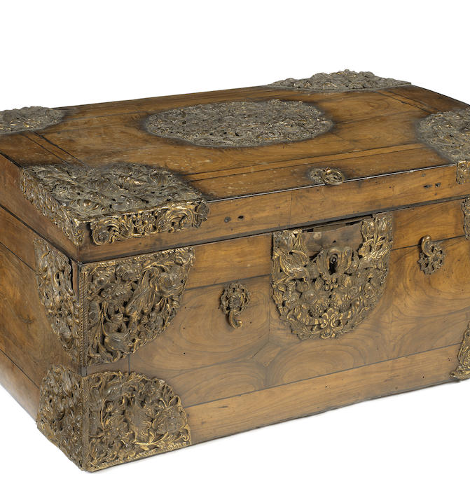 A Dutch late 17th / early 18th century walnut and gilt brass repoussé casket