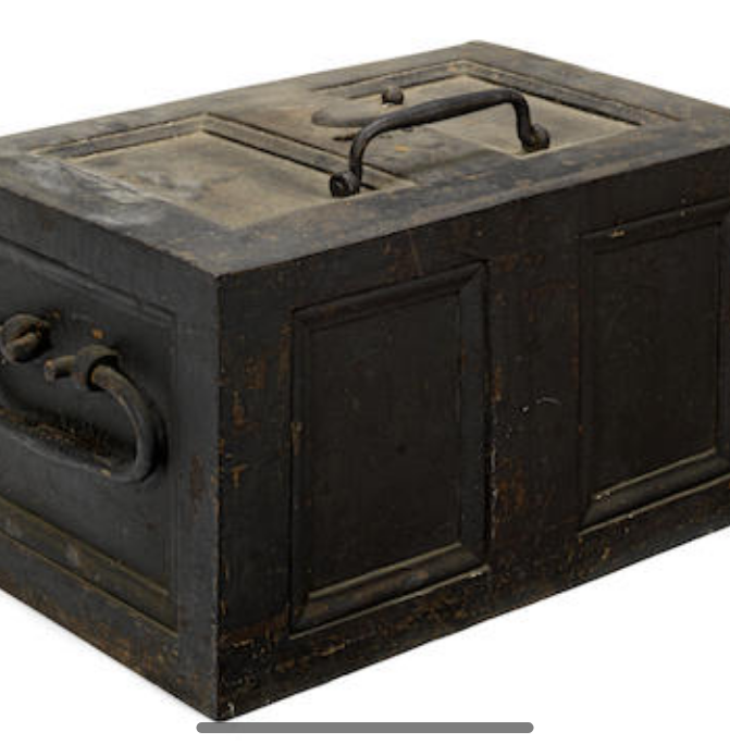 An 18th century iron strong box