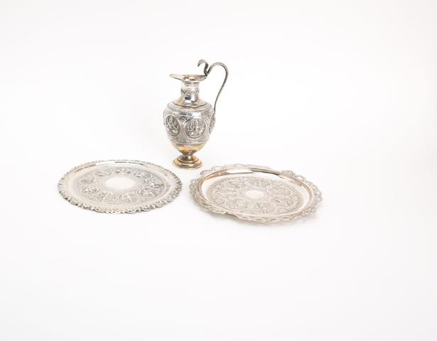 Two Indian plates and a small ewer