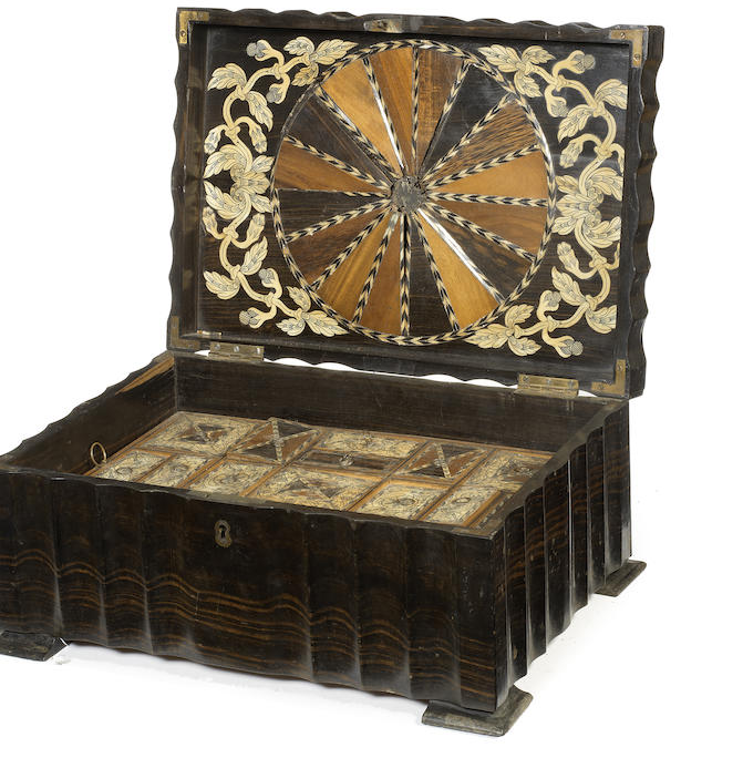 An Anglo-Ceylonese calamander, ebony and ivory inlaid work box