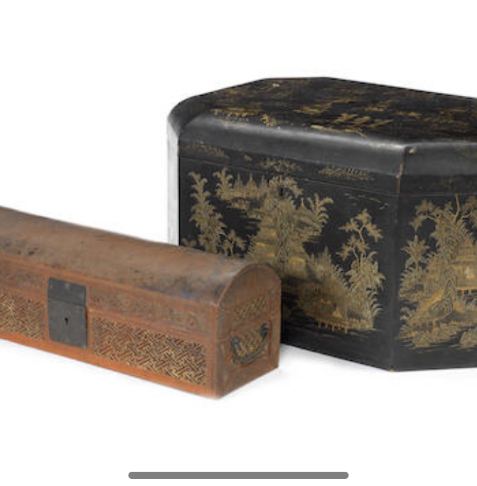 A large Chinese hexagonal lacquer box
