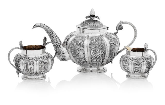 An Indian matched three piece tea service