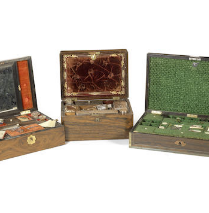Three Victorian rosewood work or dressing boxes