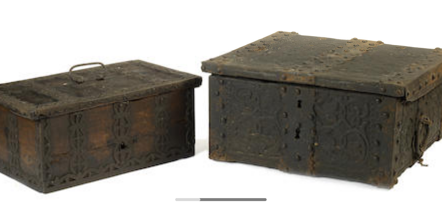 A 19th century north european pine and iron bound box
